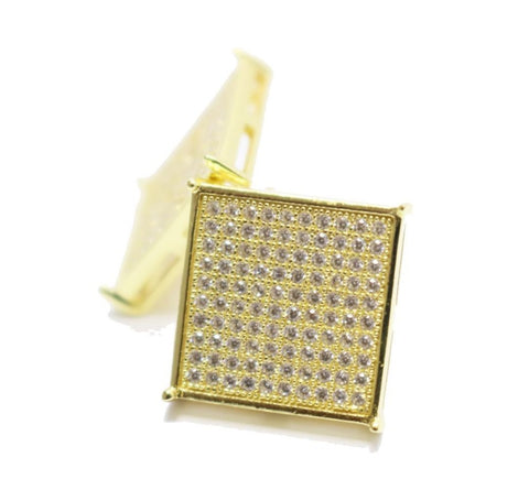 high quality 8*8stone 14mm micro pave gold screwback big gold men earring