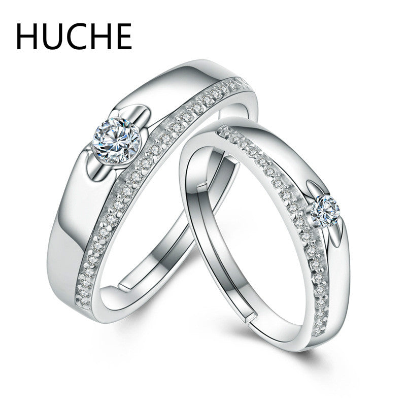 HUCHE Sterling-Silver-Jewelry 925 Sterling Silver Couple Rings for Women Men Cubic Zirconia Wedding Engagement Ring set ZI066
