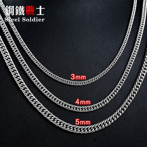 steel soldier retail & Wholesale factory price Man Chain Flat Necklace For Stainless Steel Man's Fashion Cheap Necklace Jewelry