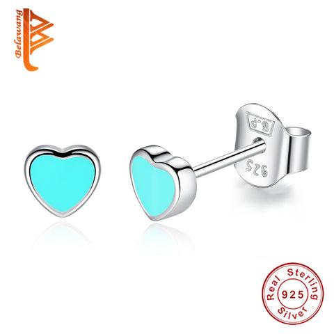 Popular 925 Sterling Silver Cute Blue Enamel Heart Push-back Stud Earrings for Women & Girls Sterling-Silver-Jewelry Earring