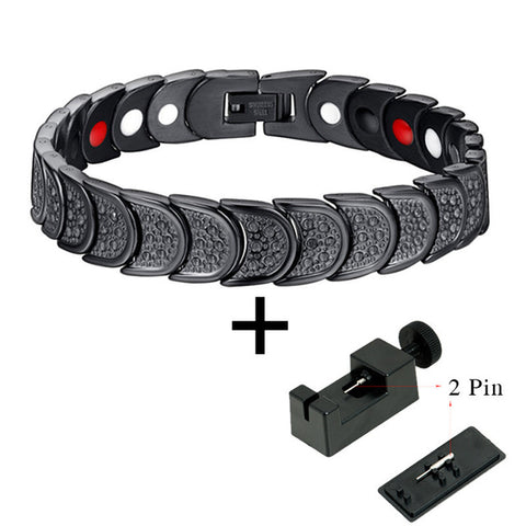 Hottime 4in1 Men Stainless Steel Titanium Bracelets Magnetic Germanium Ion Infrared Energy Power Hologram Health Bracelet 10133