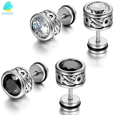 BONISKISS High Quality Cool Mens Earring Ear Stud Stainless Steel CZ Crystal Fake Plug 2 Color - Black & Silver