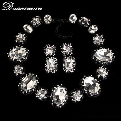 Dvacaman 2016 Fashion Geometric Luxury Statement Beads Crystal Gem Rhinestone Maxi Vintage Necklace Earring Jewelry Sets 8641