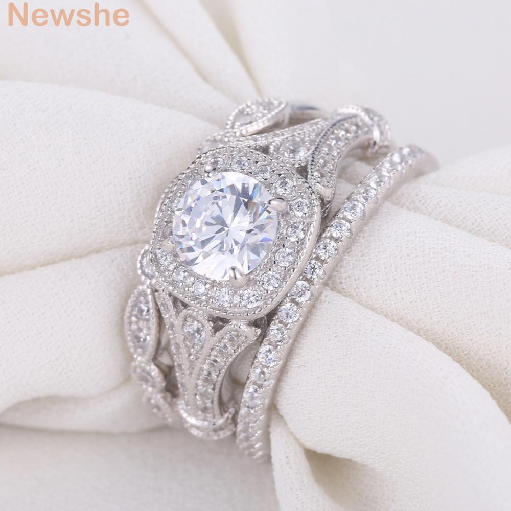 Newshe 2 Ct Round Cut AAA CZ Solid 925 Sterling Silver Triple Wedding Ring Sets Engagement Band Gift Jewelry For Women Size 5-12