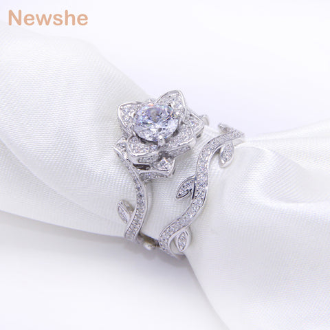 Newshe 2.3 Ct Silver Plated Wedding Ring Set For Women Engagement Band Rose Flower Gift Jewelry