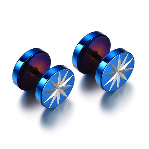 A Pair of 2 Pcs Men Barbell Piercing Punk Gothic Stainless Steel Ear Stud Earrings Unisex Earrings