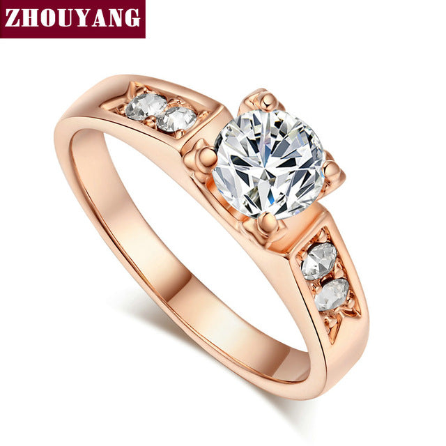 ZHOUYANG Classical 6mm Prong Setting Wedding Ring Real Rose Gold/WhiteGold/YellowGold Color  For Women ZYR051 ZYR052 ZYR596