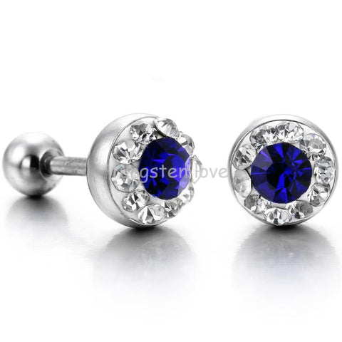 Fashion Shiny Punk Cubic Zirconia CZ 316L Stainless Steel Mens Stud Earrings For Men Stylish Gifts 3 colors - 1 pair