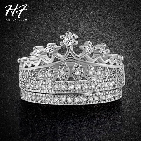 Princess Crown AAA+ Cubic Zirconia Wedding Ring Sets Silver Color Fashion Engagement Ring Jewelry For Women Wholesale R685