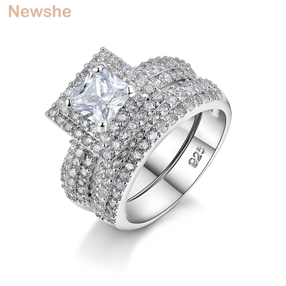 Newshe 2 Ct Princess Cut CZ Solid 925 Sterling Silver Wedding Ring Set Engagement Band Stunning Jewelry For Women