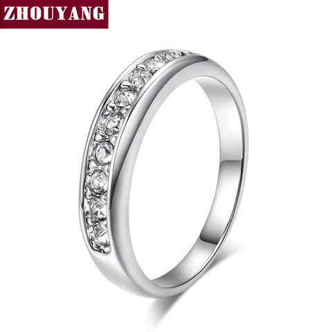 Top Quality ZYR062 9 Stone Classic Wedding Ring Rose Gold Color Ring Austrian Crystals Full Sizes Wholesale