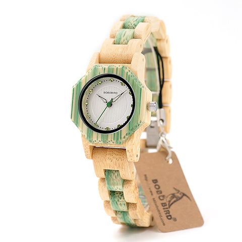 BOBO BIRD bamboo Women watches Quartz Folding clasp Imitation diamond watch ladies clock custom logo with wood case