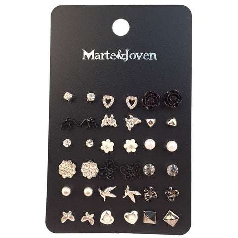 Marte&Joven 18 Pairs/Lot Ear Studs Mixed Bird Cross Flower Love Heart Stars Silver Color Earrings Sets Stud For Women Wholesale