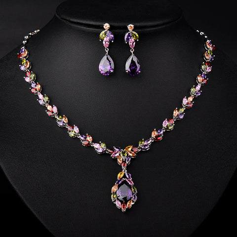 YAN MEI 3 Colors Mona Lisa Marquise & Oval Stone Cubic Zirconia Necklace and Earrings Wedding Jewelry Set GLN0127