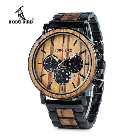 BOBO BIRD WP09 Wooden Mens Watches Top Brand Luxury Stylish Watch Wood & Stainless Steel Chronograph Military Quartz Watch