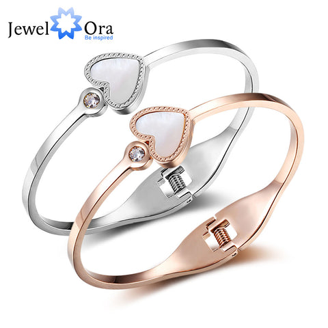 Women Love Stainless Steel Bracelet Bangles  Silver Rose Gold Colour Heart Design with CZ & Shell Bangles Gift JewelOra BA101722