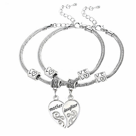 Bluelans 2Pcs Mother Daughter Love Heart Bracelets Family Gifts Women Jewelry Bangles