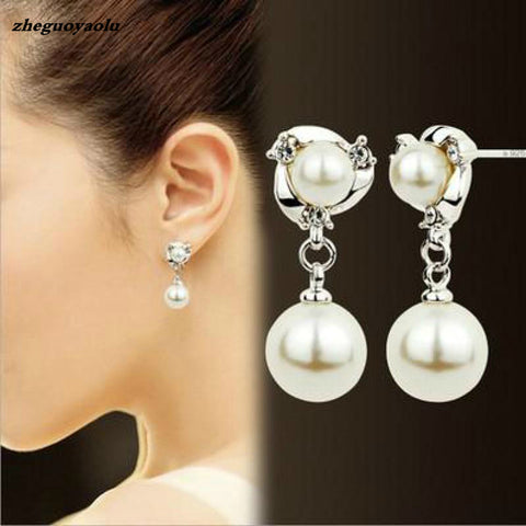 New Personality Crystal Earrings High Quality Wild Rhinestones Imitation Pearl Earrings For Women Stud Earrings Boucle D'oreille