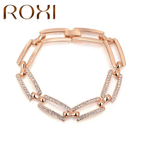 ROXI Charm Bracelet & Bangle For Women Lady Rose Gold Color Genuine Austrian Crystals Bracelets Jewelry pulseira feminina