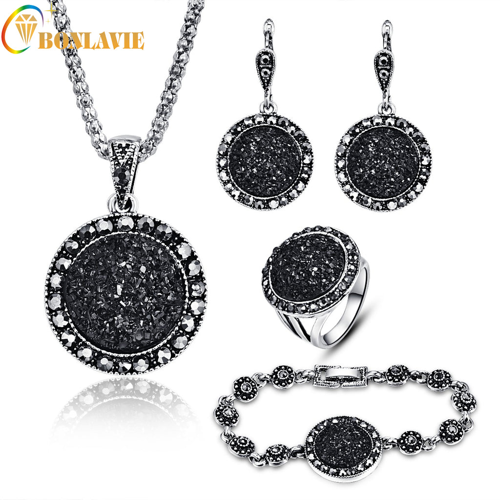 2017 NEW Black Broken Stone Wedding Jewelry Sets Necklace Earrings Ring Bracelet For Women Unique Boho Silver Plated