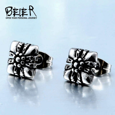 BEIER 2017 flower Earring  Stainless Steel Rock Punk Gothic Vintage Jewelry For Men And Women Good polised  E013