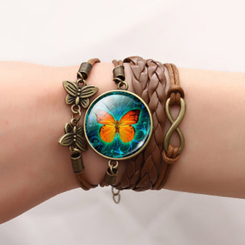 2018 Vintage Steampunk Clock Butterfly Bracelets & Bangles Glass Multi-layer leather rope Charm Bracelets for Women