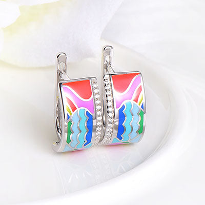 RainMarch Enamel Silver Earrings Ring Pendant For Women 925 Sterling Silver Necklace Pendant Bohemian enamel Engagement Jewelry