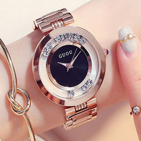GUOU Women's Watches Ladies Watch Fashion Luxury Bracelet Watches For Women Rose Gold Rhinestone Clock Women reloj mujer saat