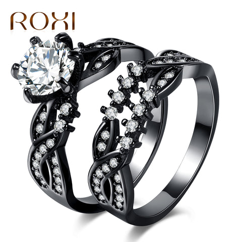 ROXI Trendy Bague Wedding Bands Black Gun Plated White Cubic Zircon Rings Set for Women Fashion Party Engagement Ring Jewellery