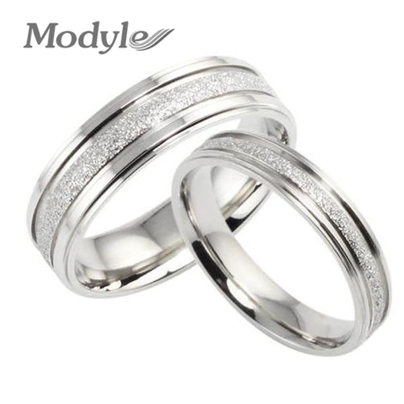 Fashion Jewelry High Quality 316L Stainless Steel Rings Silver-Color Dull Polish Circle Couple Ring Wedding Ring Engagement Ring