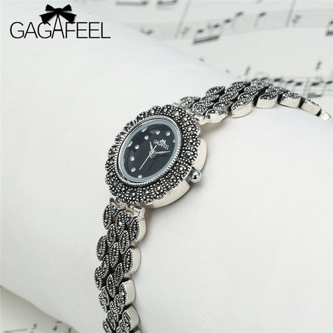GAGAFEEL Elegant Luxury Quartz Watch 925 Sterling Silver Relogio Feminino Female Women Wrist Watch Lady Watches Date Accessories