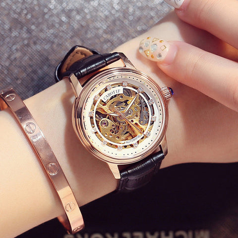 Luxury Brand Skeleton Sapphire Crystal Women Mechanical Watch Reloj Mujer Fashion Elegant Ladies Watch Montre Femme