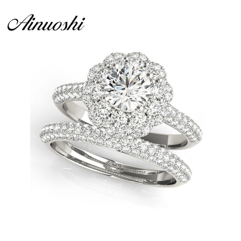 AINUOSHI Trendy 925 Sterling Silver Engagement Flower Bridal Ring Sets Wedding Anniversary 0.5 Carat Round Cut Halo Ring Sets