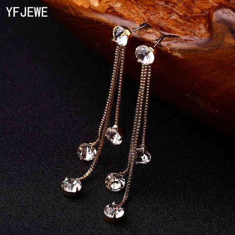 YFJEWE New Fashion Drop Rhinestone Earrings Brief Personality Tassel Long Design Sparkling Crystal Earrings Female Earrings E059