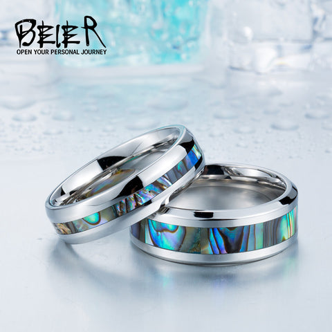 BEIER 2017 Stainless Steel Shells Simple Ring Woman$man Wedding Fashion Jewerly BR-R060