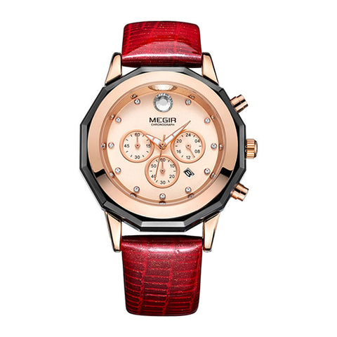 MEGIR Luxury Brand Ladies Watch Chronograph Fashion Leather Wrist Quartz Girl Watch for Women Lovers Dress Watches Clock 2042