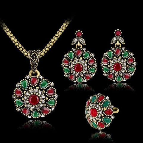 Danrun 2017 Trendy Vintage Crystal Flower Necklace&Earrings&Ring Dubai Jewelry Sets For Women Wedding Enamel African Beads Set