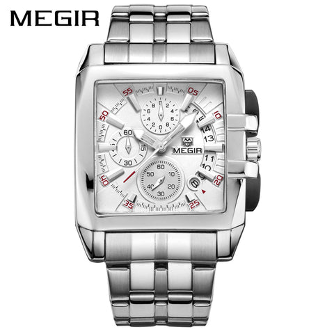 MEGIR Original Luxury Men Watch Stainless Steel Date Mens Quartz Watches Business Big Dial Wrist Watch Relogio Masculino 2018