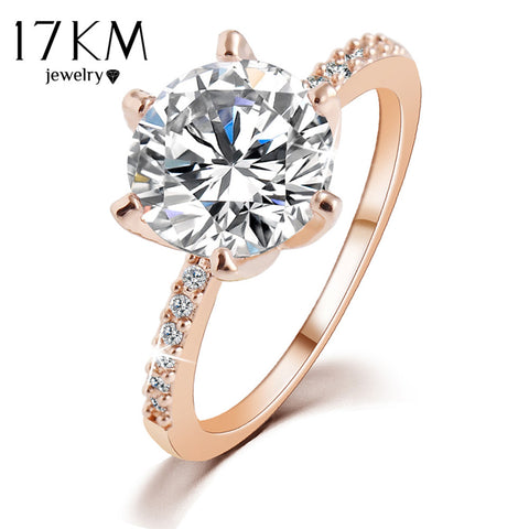 17KM Christmas Gift Silver Color Rose Gold Color Crystal Ring Jewelry Wedding Rings For Women Accessory anillo High Quality