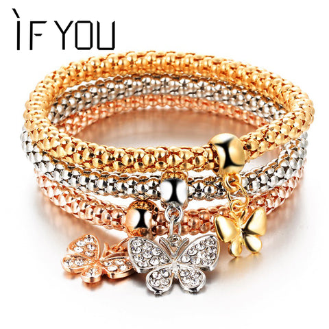 IF YOU 3Pcs Crystal Bracelet Women Gold Color Filled Bracelets Bangles Jewellery Elastic Charm Chain Gifts pulseira feminina
