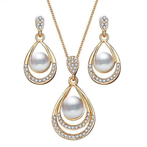 IF ME Fashion Gold Color Water Drop Simulated Pearl Crystal Necklace Stud Earrings Jewelry Set for Women Party Wedding Jewellery