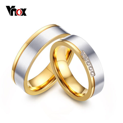 Vnox Hot Elegant Wedding Rings for Women Men Anillos Gold Color Promise Finger AAA CZ Stones Jewelry