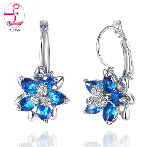 ZHE FAN Red Blue Flower Earrings Women Pave AAA Cubic Zirconia Queen Party Gift Earring Stud Korean Brand Jewelry 2017