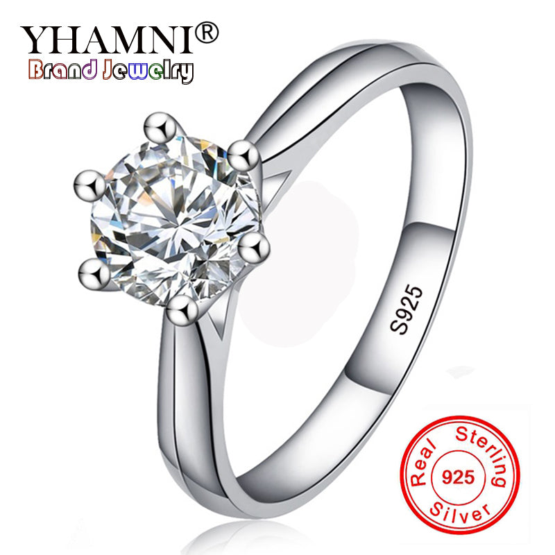 YHAMNNI Fine Jewelry 100% Natural 925 Silver Rings White 6mm Solitaire Zircon Stone Engagement Wedding Rings For Women R1263