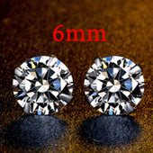 COLORFISH 925 Solid Sterling Silver Round Stone Stud Earring Classic Four Prongs Cubic Zirconia Women Earrings 5mm 6mm 7mm 8mm