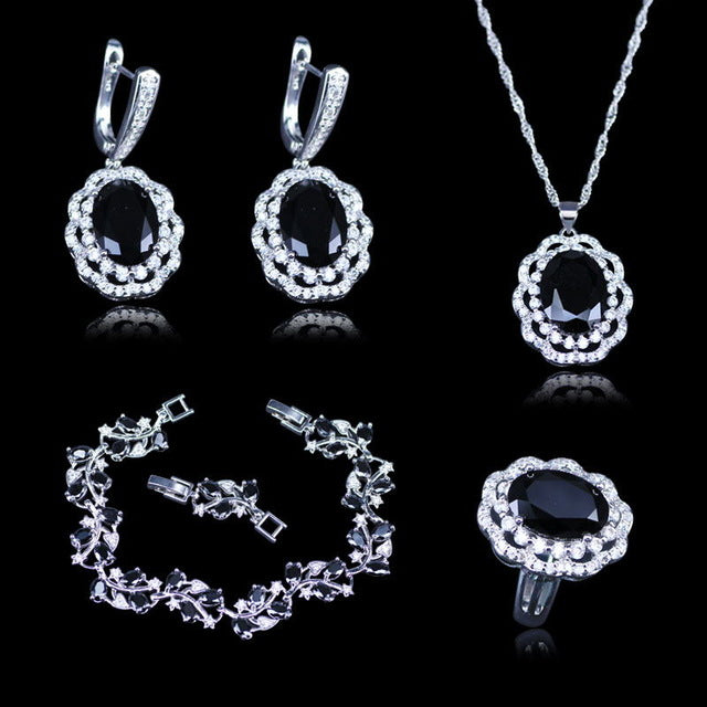 Exquisite Black Garnet White Zircon Jewelry Sets For Women 925 Silver Stamp Silver Color Jewelry Sets Bracelets earrings Set