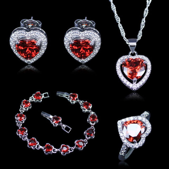 New Arrival Heart Red Created Garnet White Zircon 925 Stamp Silver Color Jewelry Sets For Women Bracelets Pendant Earrings Rings