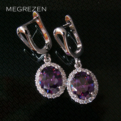 Vintage Style Silver Earrings With Stones For Women Purple Crystal Earings Fashion Jewelry 2018 Brincos De Festa Compridos YE003