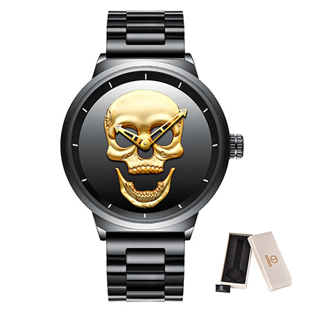 Skull Punk Mens Watch Unique Fashion 3D Waterproof 30m Stainless Steel Quartz Male Watches Luxury Sports Clock Relogio Masculino