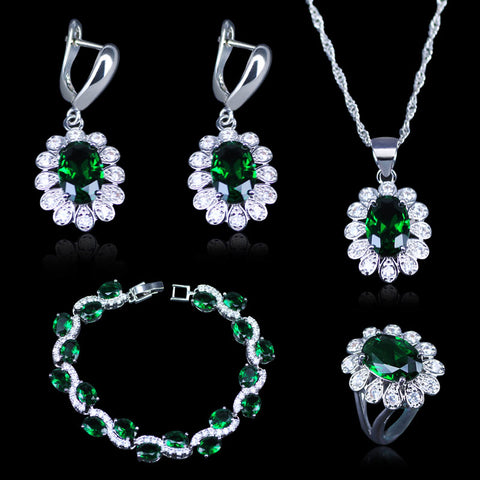 Dubai Style Green CZ White Austrian Crystal 925 Stamp Silver Color Jewelry Sets Earrings/Pendant/Necklace/Rings/Bracelets